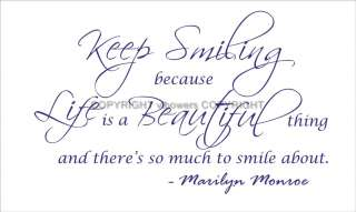 MARILYN MONROE QUOTE VINYL WALL DECAL STICKER **KEEP SMILING** 87cm x