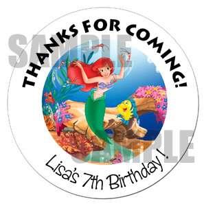 24 Little Mermaid Birthday Sticker Gift Favor Party Label