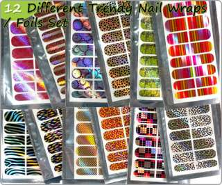 12 Mix Style Different Nail Art Trendy Wrap Foils Sticker Full Cover