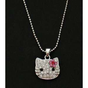 Celebrity Hello Kitty Iced Out Austrian Crystal Pendant and Necklace