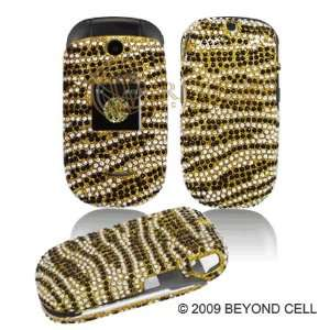 Full Bling Diamond Gold and Black Zebra Skin Design Snap