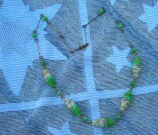 Vintage Venetian Wedding Cake Bead Jewelry Necklace Green Glass Rose