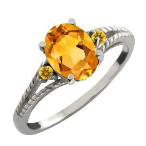 Ct Genuine Oval Yellow Citrine Gemstone 18k White Gold Ring Jewelry