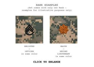 Army Name Tape & Rank Patch Set for ACU & Cap without Velcro for