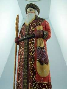 Hand Carved Russian Father Christmas Santa Claus Statue