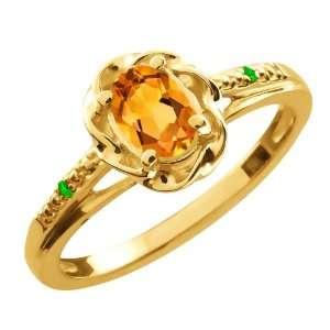 Ct Oval Yellow Citrine Green Tsavorite 10K Yellow Gold Ring Jewelry