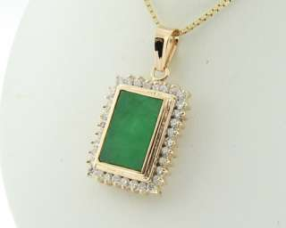 Estate Large Green Jade 2/3ctw Genuine Diamonds Solid 14k Gold Pendant