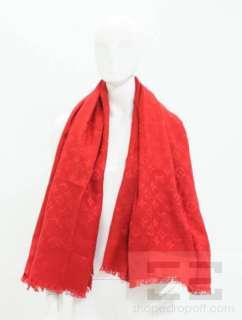 Louis Vuitton Red Silk & Wool Monogram Fringe Trim Wrap Shawl