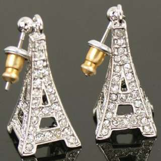 Gold GP Eiffel Tower Swarovski Crystal Dangle Earring