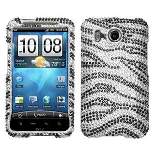Inspire 4G Cell Phone Black White Zebra Full Bling Stone Case Cover