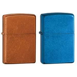 Zippo Lighter Set   Cerulean Blue and Toffee Brown, Pack