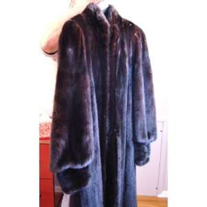 Black Ranch Mink Coat Custom Made Satin Lining Sz 13 14