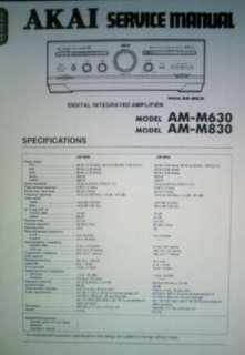 AKAI AM M630 AM M830 DIGI INT AMP SERVICE MANUAL BOUND