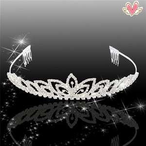 Clover Style Rhinestone Crown Headband Tiara Wedding Headband