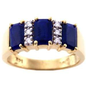 Yellow Gold Octagon Three Stone Ring With Diamonds Lapis Lazuli, size5