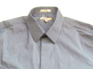 NWOT EXPRESS 1MX STEEL BLUE FITTED MENS DRESS SHIRT sz L