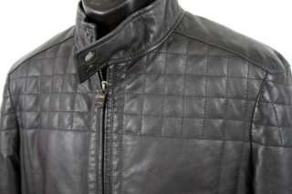 Hugo Boss Fandis Black Quilted Lamb Leather Biker Jacket Size 38 R