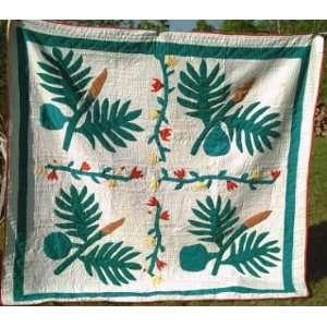 Antique Folk Art Leaves Quilt