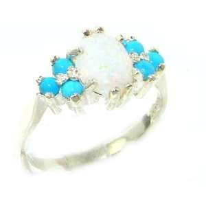 Ladies Contemporary Solid White Gold Natural Opal & Turquoise Ring