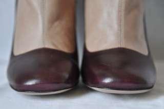 PRADA Bi Color Tall Stretch Boot Mary Jane Leather Pump High Heel 2011