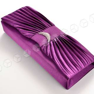 SATIN DIAMANTE EVENING PROM BRIDAL WEDDING CLUTCH BAG HANDBAG 6
