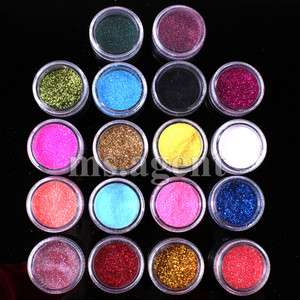 18 Color for Nail Art Glitter Dust Powder for acrylic system