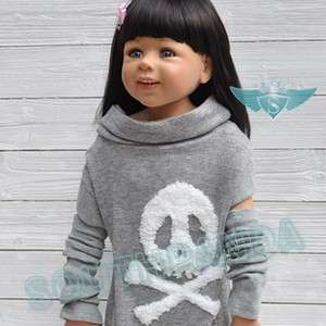 KC021 Gray Skull Unique Girl Kid T shirts Top Age 3 4