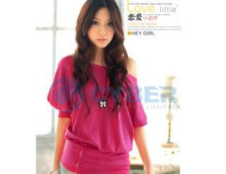 Plain Women Korea Sexy Off Shoulder Top T shirt Tee New