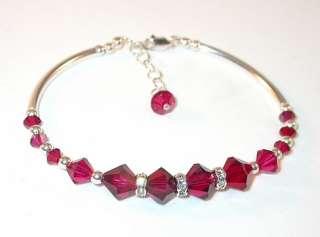 SWAROVSKI CRYSTAL ELEMENTS Sterling Silver Bracelet RUBY RED