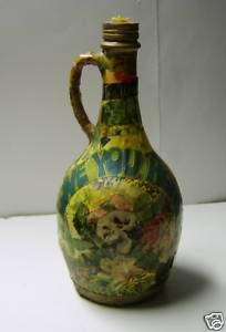 Vintage Floral Theme Decoupage Glass Wine Bottle