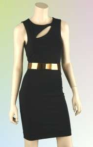 LADIES GORGEOUS LITTLE BLACK COCKTAIL DRESS WITH GOLD BELT XS