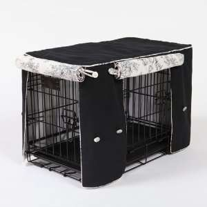 Crate Covers and More Central Park Toile with Black, Double Doors Pet