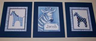 IS FOR BLUE ZEBRA KIDS ART 5 PRINTS PERSONALIZED