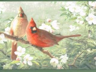 EASTERN BLUE BIRD, CARDINAL PLUS FINCH COUNTRY Green Edge Wallpaper