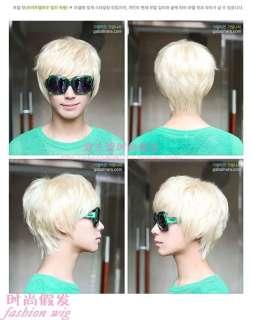 146 New Fashion Short Platinum Blonde Man Wig