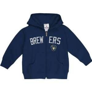 Milwaukee Brewers Toddler Navy Primary Logo Full Zip Hooded Sweatshirt