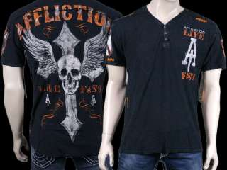 AFFLICTION Mens LIVE FAST V neck shirt henley lava wash skull cross