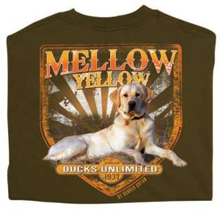 Ducks Unlimited Short Slv Crewneck T Shirt Mellow Yellow Hunting Dog