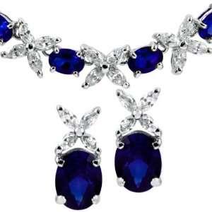 Set Jaffas Fancy Flower Necklace & Earrings   Faux Sapphire Jewelry