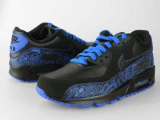 NIKE AIR MAX 90 GS NEW Boys Girls Youth Black Blue Shoes Size 5.5Y