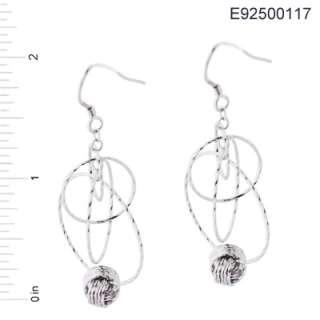 925 Sterling Silver Diamond Cut Hoops Drop Earrings