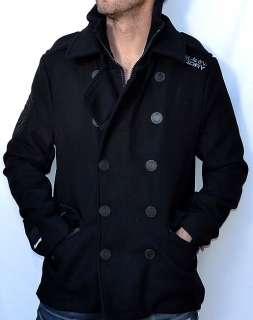 Mens Classic Wool Blend PEACOAT   Black   NEW Pea Coat