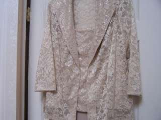 Mother of the Bride CHIFFON SEQUIN LACE LONG DRESS & JACKET 3XL Formal