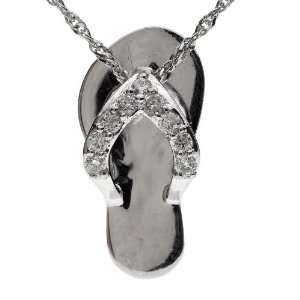 14k White Gold Round Cut Multi Stone Diamond Flip Flop Pendant ( .15