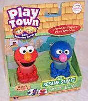 PLAY TOWN Sesame Street GROVER & ELMO Wood Figures NEW
