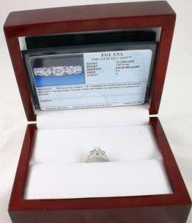 LADIES 14K SOLID WHITE GOLD EGL CERTIFIED DIAMOND RING