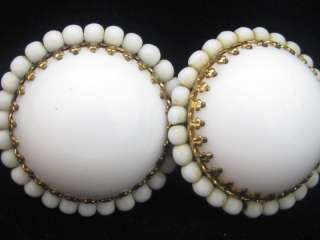 SGD MADE IN GERMANY LARGE WHITE MILK GLASS BEADED CAB CLIP ON EARRINGS