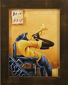 Music Black Man Musician Bugle Trumpet Art FRAMED OIL PAINTING
