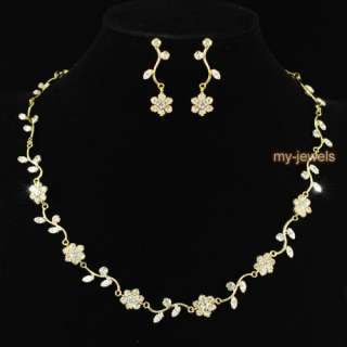 Flower Crystal Gold Plated Necklace Earrings Set S1037