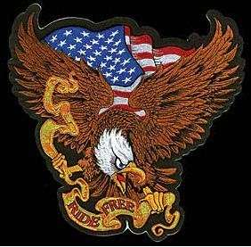 USA RIDE FREE WITH EAGLE Quality Biker Vest BACK PATCH!